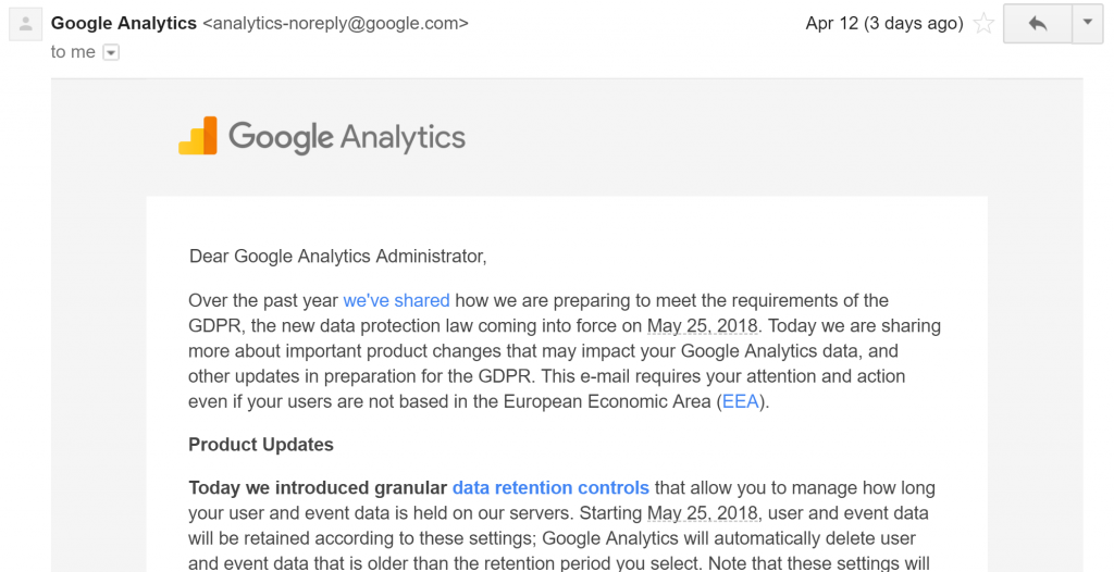 google analytics data retention email