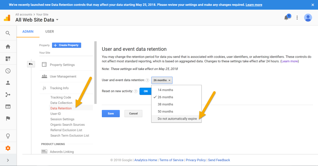 google analytics data retention tutorial